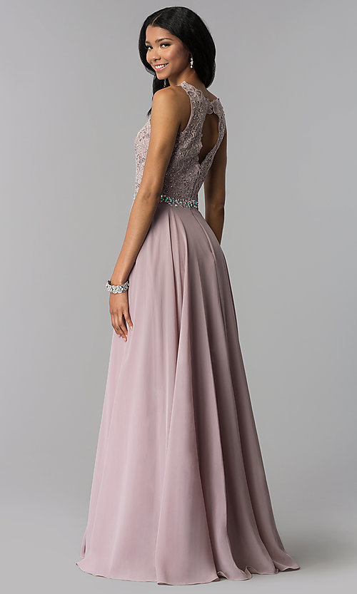 Image of long mauve chiffon prom dress with lace applique. Style: FB-GL2417m Back Image