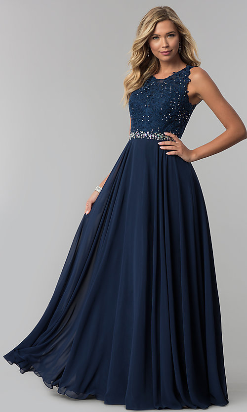 Image of long mauve chiffon prom dress with lace applique. Style: FB-GL2417m Detail Image 1