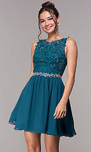 Image of beaded-lace bodice short chiffon homecoming dress. Style: FB-GS1623m Front Image