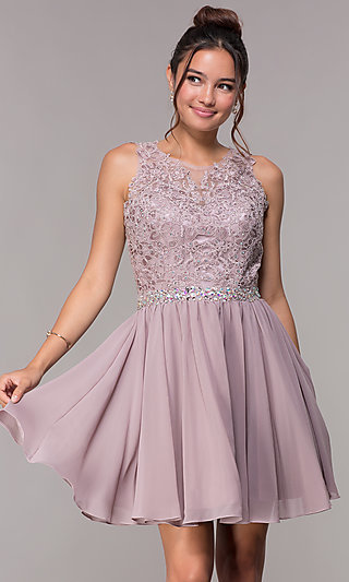 Short Mauve Homecoming Dress with Lace Applique