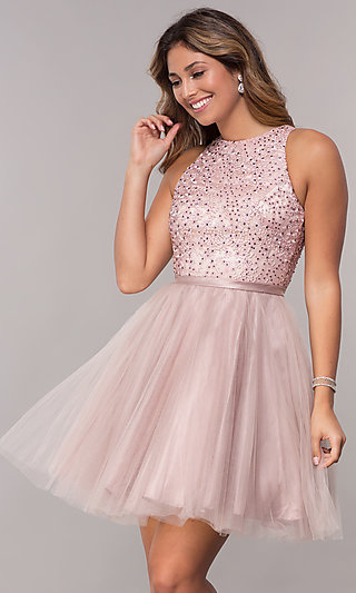 Short Mauve Purple Homecoming Dress with Embroidery