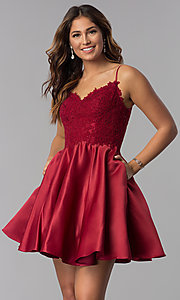 Image of dusty rose pink short homecoming dress with lace. Style: DQ-3037dr Detail Image 3