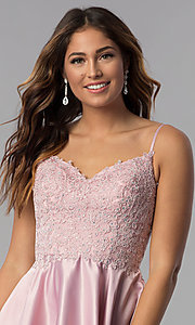 Image of dusty rose pink short homecoming dress with lace. Style: DQ-3037dr Detail Image 1