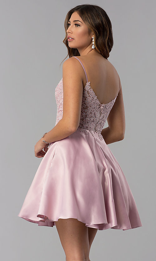 Image of dusty rose pink short homecoming dress with lace. Style: DQ-3037dr Back Image