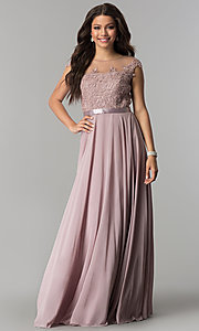 Image of chiffon long mocha prom dress with embroidered bodice. Style: DQ-2121m Front Image