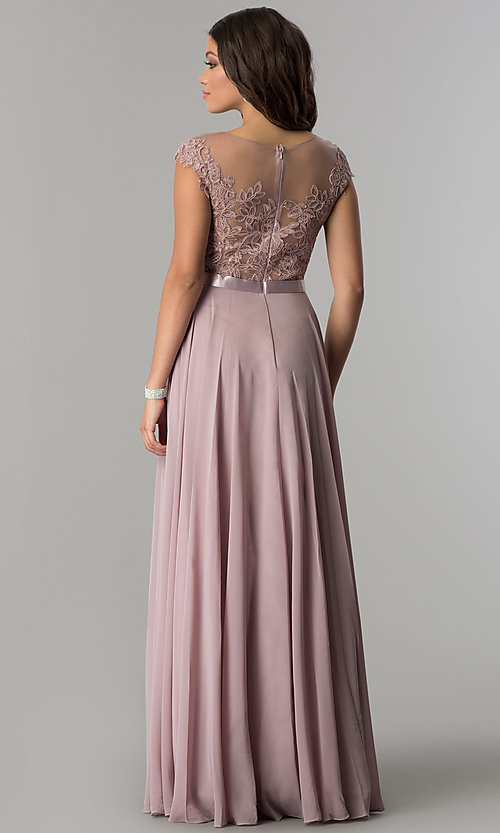 Image of chiffon long mocha prom dress with embroidered bodice. Style: DQ-2121m Back Image