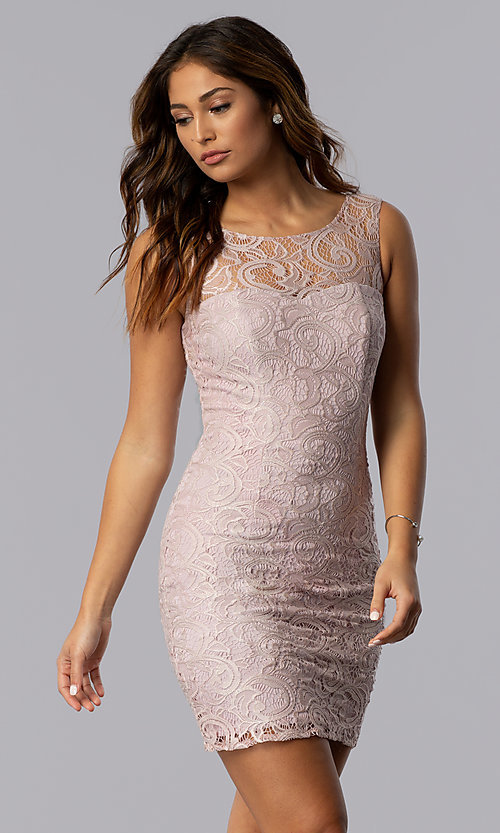 Image of short lace scoop-neck mocha purple party dress. Style: DQ-8767m Front Image