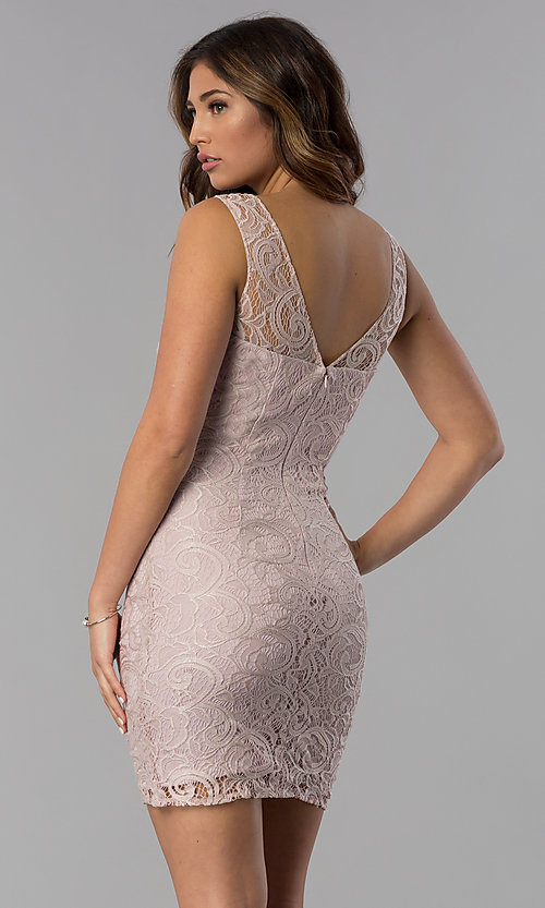 Image of short lace scoop-neck mocha purple party dress. Style: DQ-8767m Back Image