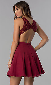 Image of embroidered-bodice mocha purple homecoming dress. Style: DQ-PL-3012m Back Image