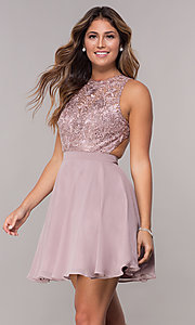 Image of embroidered-bodice mocha purple homecoming dress. Style: DQ-PL-3012m Front Image