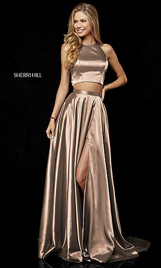 Two-Piece Long Mocha Prom Dress by Sherri Hill