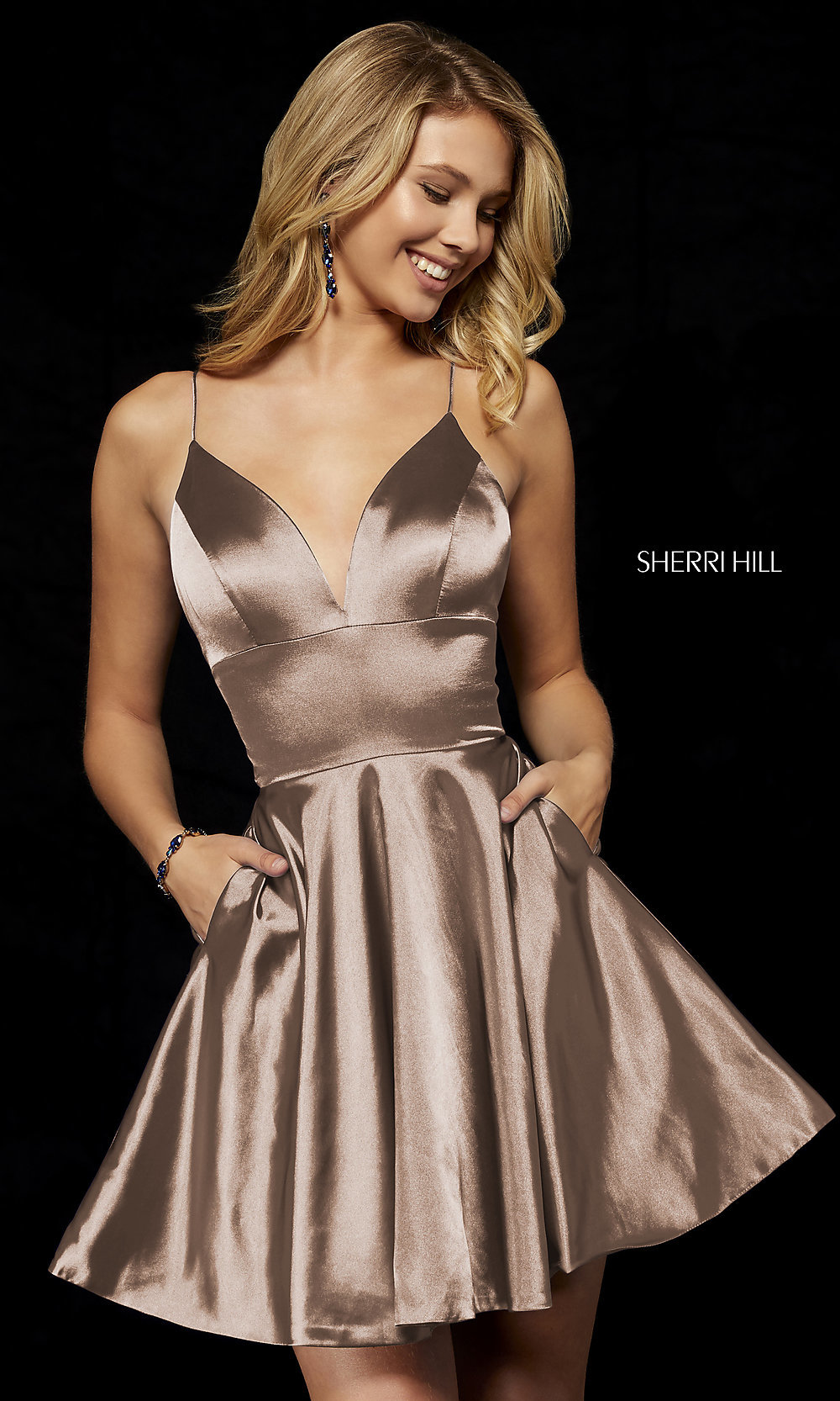 d153111d84 ... mocha fit-and-flare Sherri Hill hoco dress. Tap to expand
