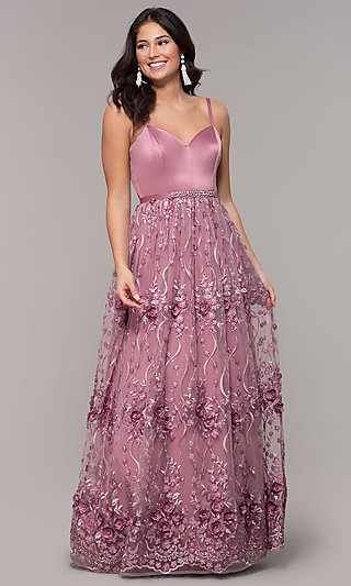 Long Mauve Sweetheart Embroidered-Skirt Prom Dress