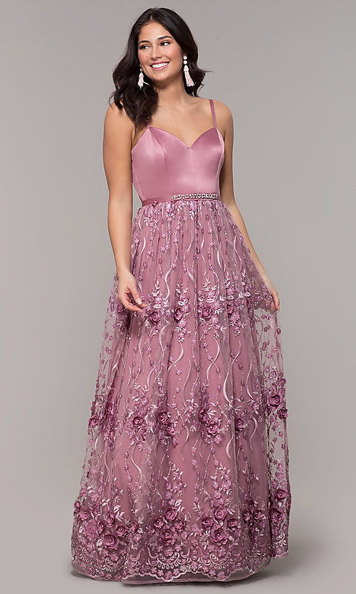 Image of long mauve sweetheart embroidered-skirt prom dress. Style: CT-5752VM3CTP Front Image