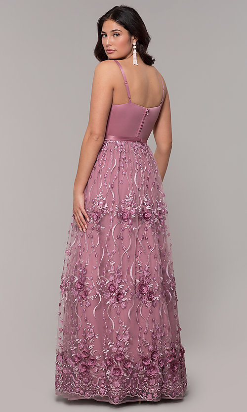 Image of long mauve sweetheart embroidered-skirt prom dress. Style: CT-5752VM3CTP Back Image