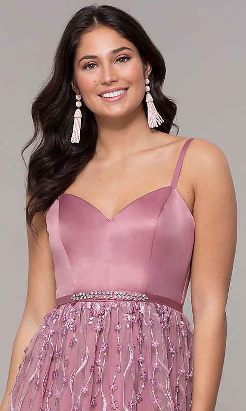 Image of long mauve sweetheart embroidered-skirt prom dress. Style: CT-5752VM3CTP Detail Image 1