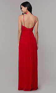 Image of long strawberry red v-neck prom dress. Style: CT-9560WJ1ATP Back Image