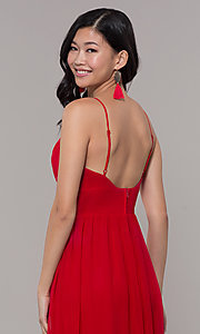 Image of long strawberry red v-neck prom dress. Style: CT-9560WJ1ATP Detail Image 2