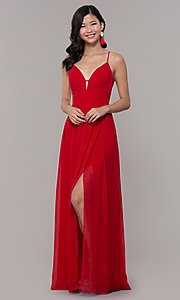 Image of long strawberry red v-neck prom dress. Style: CT-9560WJ1ATP Detail Image 3