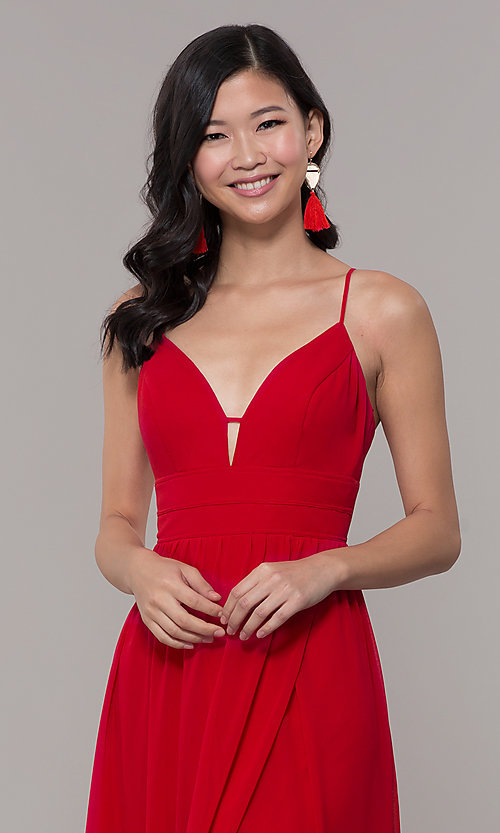 Image of long strawberry red v-neck prom dress. Style: CT-9560WJ1ATP Detail Image 1