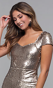 Image of reversible-sequin short holiday party dress. Style: MD-D15951CTP Detail Image 1