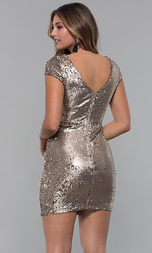 Image of reversible-sequin short holiday party dress. Style: MD-D15951CTP Back Image