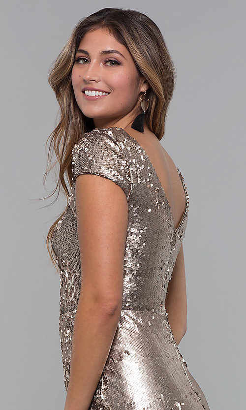Image of reversible-sequin short holiday party dress. Style: MD-D15951CTP Detail Image 2