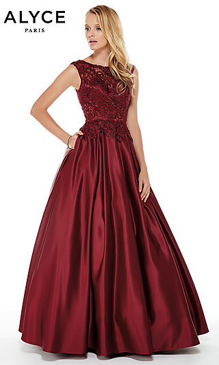 Long A-Line Alyce Prom Dress with Pockets