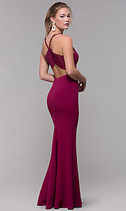 Image of lace-racerback long v-neck prom dress. Style: SS-X39031DNE Front Image