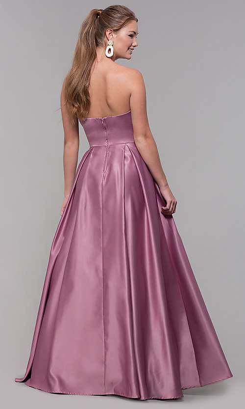 Image of strapless long sweetheart satin prom dress. Style: SS-X39603QB4 Back Image