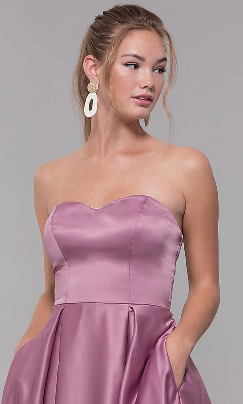 Image of strapless long sweetheart satin prom dress. Style: SS-X39603QB4 Detail Image 1