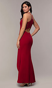 Image of long merlot red lace-back prom dress with cut out. Style: MY-5546US1S Back Image