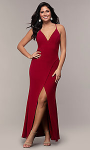 Image of long merlot red lace-back prom dress with cut out. Style: MY-5546US1S Detail Image 3