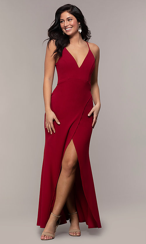 Image of long merlot red lace-back prom dress with cut out. Style: MY-5546US1S Front Image