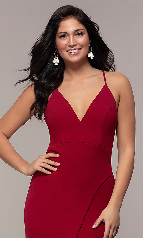 Image of long merlot red lace-back prom dress with cut out. Style: MY-5546US1S Detail Image 1