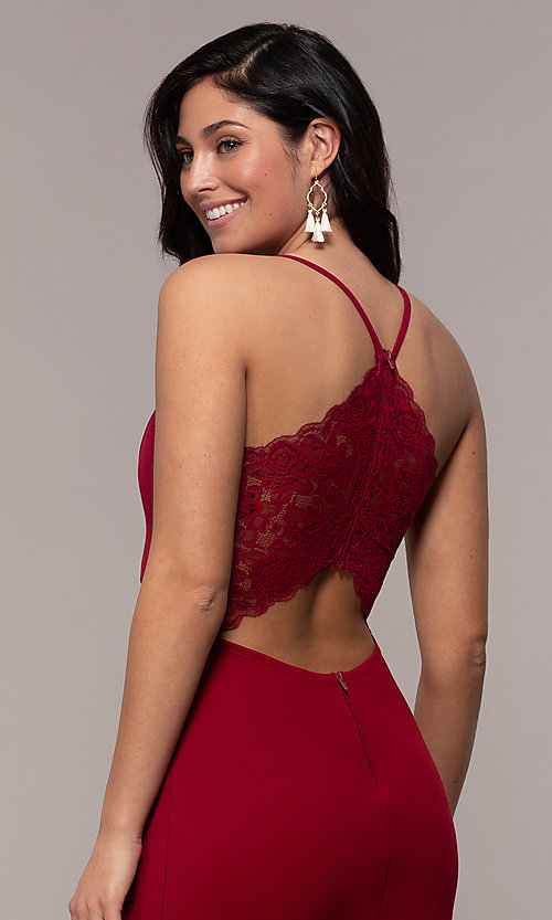 Image of long merlot red lace-back prom dress with cut out. Style: MY-5546US1S Detail Image 2