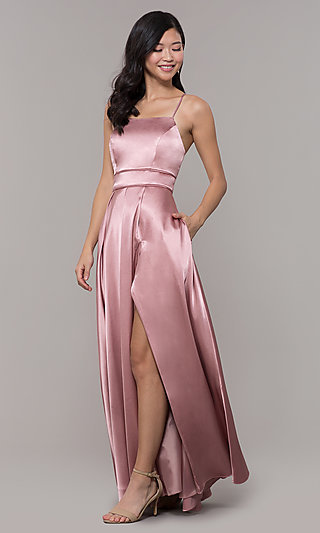 Long Mauve Pink Prom Dress with Corset Back
