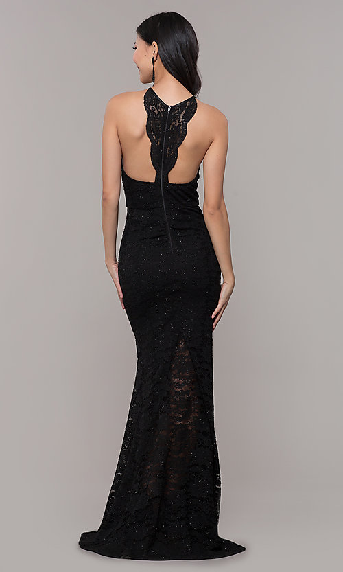 389533c2fa Image of long black lace high-neck prom dress with glitter. Style  MY
