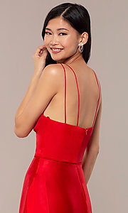 Image of long faux-wrap v-neck red satin prom dress. Style: MY-7143ZV1S Detail Image 2