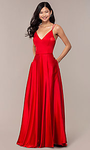 Image of long faux-wrap v-neck red satin prom dress. Style: MY-7143ZV1S Detail Image 3
