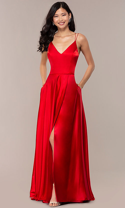 Image of long faux-wrap v-neck red satin prom dress. Style: MY-7143ZV1S Front Image