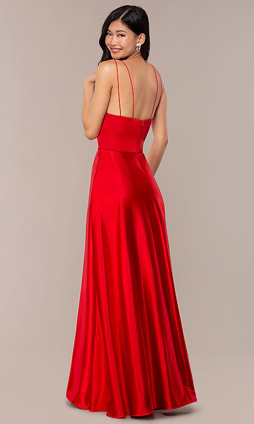 Image of long faux-wrap v-neck red satin prom dress. Style: MY-7143ZV1S Back Image