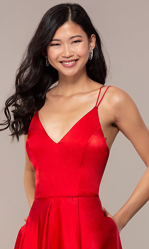 Image of long faux-wrap v-neck red satin prom dress. Style: MY-7143ZV1S Detail Image 1