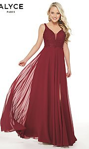 Image of Alyce designer long chiffon formal prom dress. Style: AL-60254 Front Image