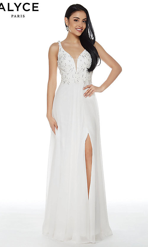 Image of Alyce designer long chiffon formal prom dress. Style: AL-60254 Detail Image 1