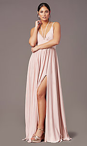 Image of v-neck long prom dress by Simply. Style: SJP-SD-AS108 Front Image