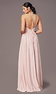 Image of v-neck long prom dress by Simply. Style: SJP-SD-AS108 Back Image