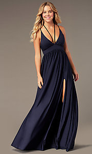 Image of v-neck long prom dress by Simply. Style: SJP-SD-AS108 Detail Image 5