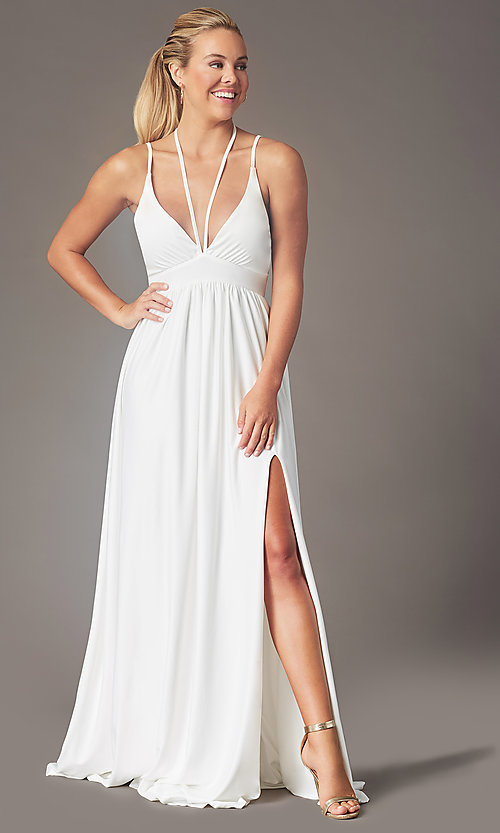 Image of v-neck long prom dress by Simply. Style: SJP-SD-AS108 Detail Image 2