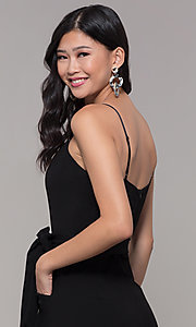 Image of cropped-leg black holiday party jumpsuit. Style: EM-FWL-3405-001 Detail Image 2